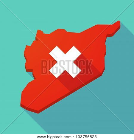 Long Shadow Syria Map With An X Sign