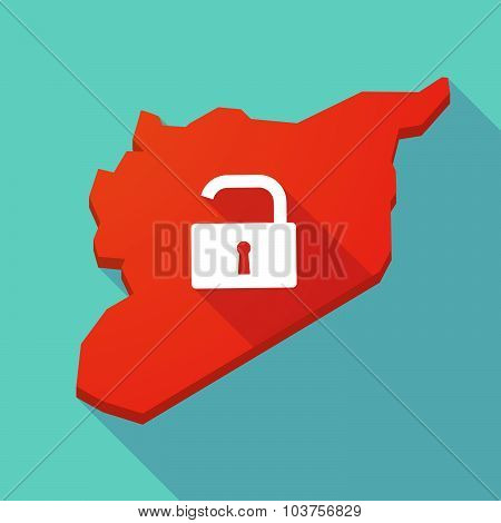 Long Shadow Syria Map With An Open Lock Pad