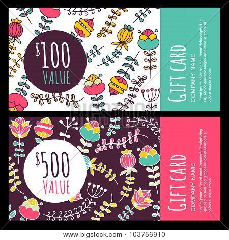 Vector Gift Voucher, Card With Colorful Hand Drawn Flowers Background.
