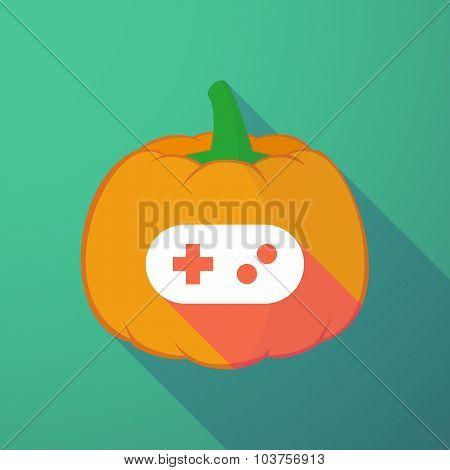 Long Shadow Halloween Pumpkin With A Game Pad
