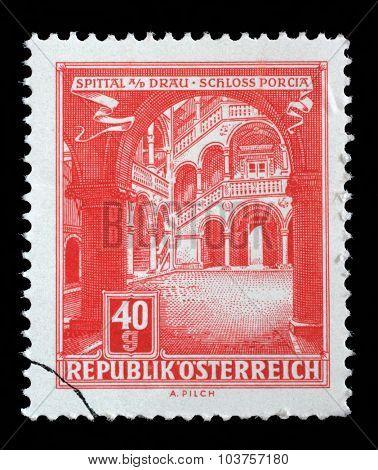 AUSTRIA - CIRCA 1962: A stamp printed in Austria, shows Schloss Porcia (Porcia Castle) in Spittal an der Drau, circa 1962