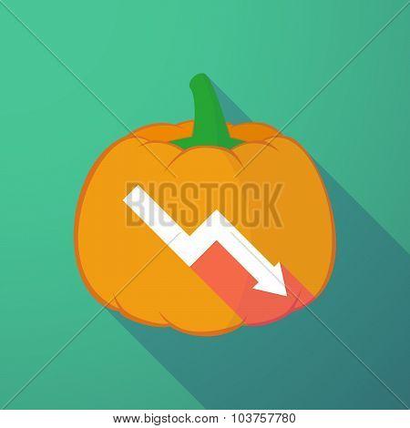 Long Shadow Halloween Pumpkin With A Descending Graph