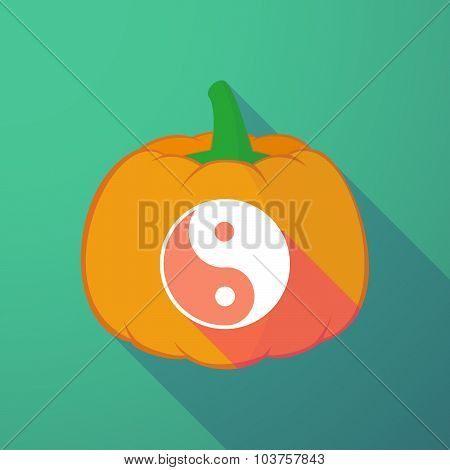 Long Shadow Halloween Pumpkin With A Ying Yang