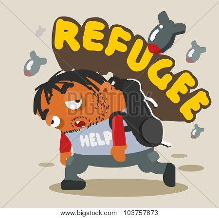Refugee Tired. Vector illustration Flat