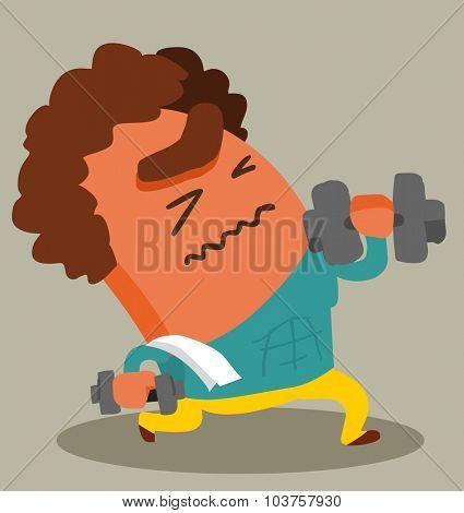focused workout. Vector illustration Flat