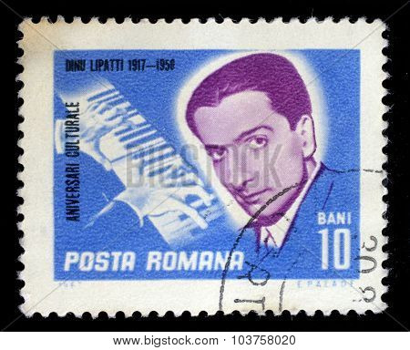 ROMANIA - CIRCA 1967: a 10 bani stamp from Romania shows image of Dinu Lipatti, the pianist, circa 1967