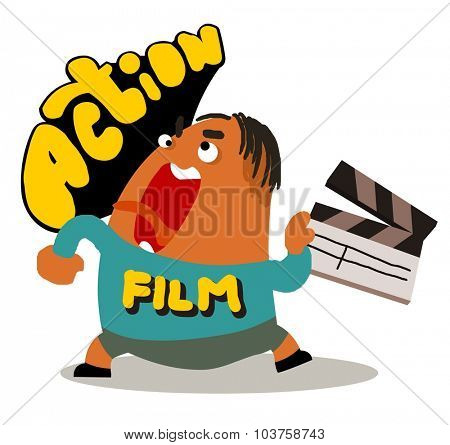 Director with movie clap. Vector illustration Flat