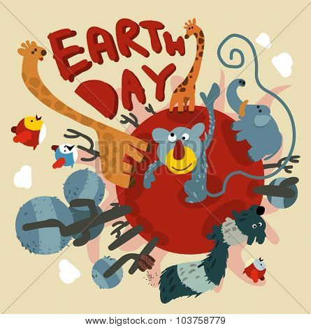 Earth day event. Vector illustration Flat