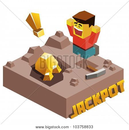 Jackpot, Gold Found. Isometric vector illustration