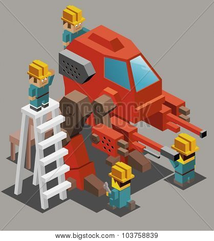 War machine research. Isometric vector illustration