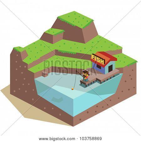 3d Fishing Hut. Isometric vector illustration