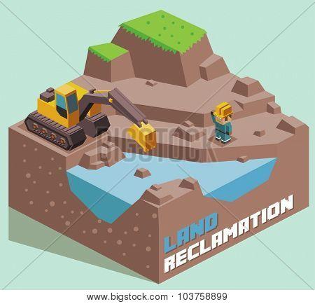 Land Reclamation expanding. Isometric vector illustration