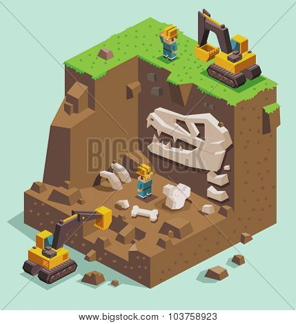 isometric Excavation on fossil archaeological site