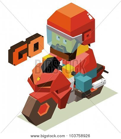 Lets go with motorcycle. Isometric vector illustration