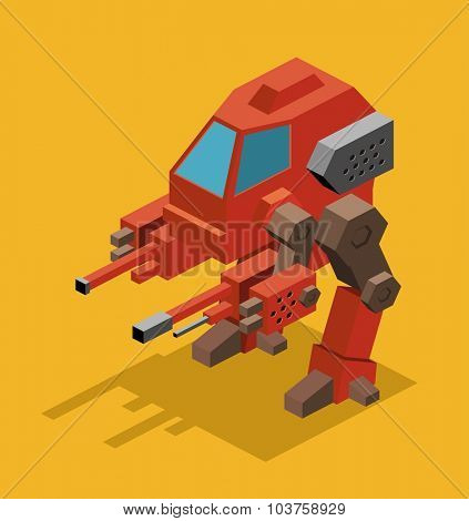 Mecha Robot. Isometric vector illustration