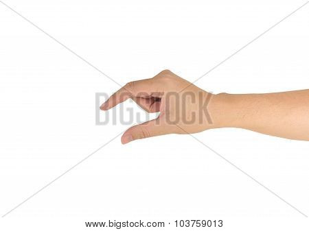 Male Hand Holding Some Like A Blank Object .