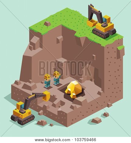 Land dig for Gold Mining. Isometric vector illustration