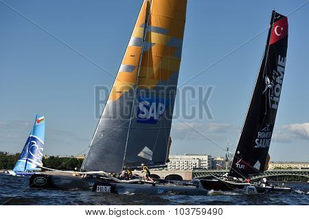 ST. PETERSBURG, RUSSIA - AUGUST 20, 2015: Extreme 40 catamarans during the 1st day of St. Petersburg stage of Extreme Sailing Series. Red Bull Sailing Team of Austria won the day with 58 points