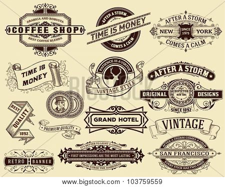 15 vintage Labels and banners. Elements by layers