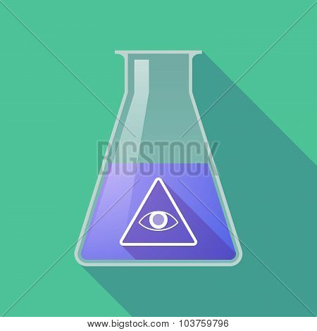 Long Shadow Chemical Test Tube Flask With An All Seeing Eye