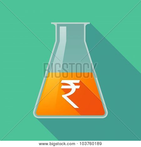 Long Shadow Chemical Test Tube Flask With A Rupee Sign