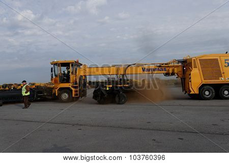 ST. PETERSBURG, RUSSIA - SEPTEMBER 24, 2015: Snow removal vehicle Vammas PSB 5500 during the annual review of equipment in the Pulkovo airport. The review is held in order to prepare to winter