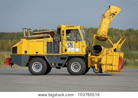 ST. PETERSBURG, RUSSIA - SEPTEMBER 24, 2015: Snow blower Bucher Rolba 3000 during the annual review of equipment in the Pulkovo airport. The review is held in order to prepare to winter