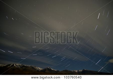Star Tracks Sky Mountains Clouds