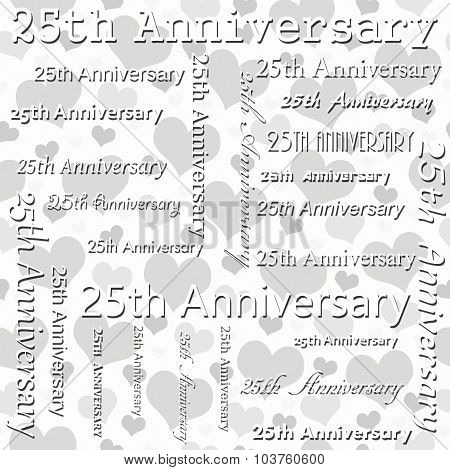 25Th Anniversary Design With Gray And White Hearts Tile Pattern Repeat Background