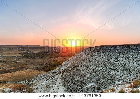 Chalk Mountains At  Sunset.