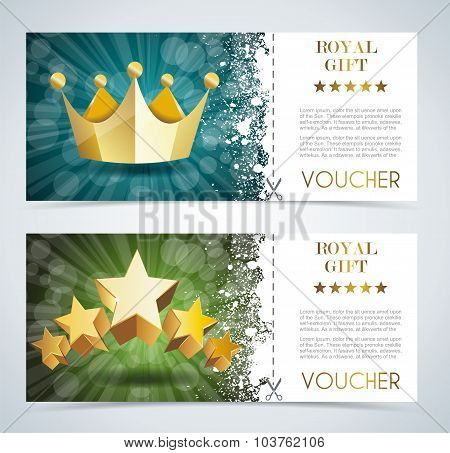 Voucher Premium Template With Gold Crown And Gold Stars.