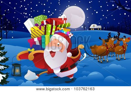 Santa Claus With Sleigh Shoveling Snow