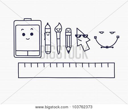Vector linear graphic design creative process concept icons and tools