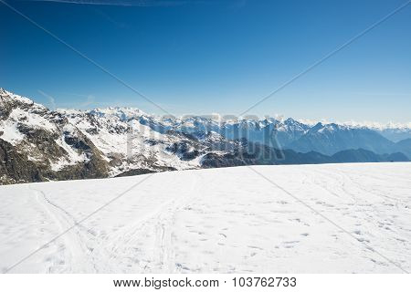 Majestic Mountain Peaks In Winter In The Alps