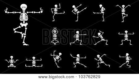 Set Vector Design Elements: Funny Skeletons - Kung Fu