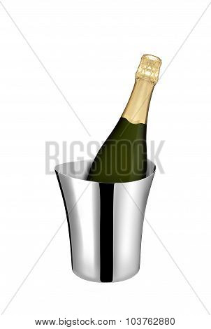 Champagne bottle in a cooler isolated on white