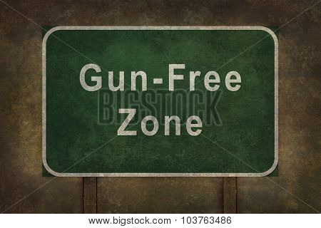 Gun-free Zone Roadside Sign Illustration