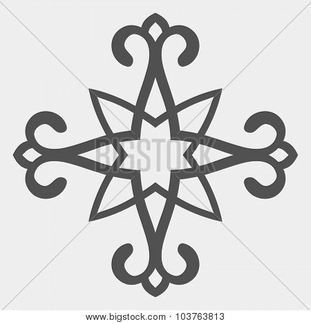 Kazakh ornament, Isolated design element, Vector illustration