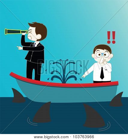 Two Businessman On Leak Sinking Boat With Sharks