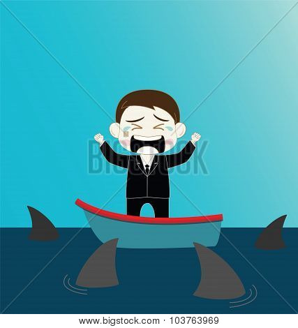 Scared Businessman On Boat Surrounded By Shark