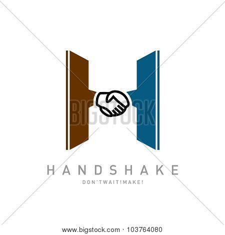 Letter H With Handshake Icon Integrated Logo Template