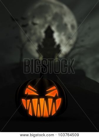3D Halloween background with scary Jack o Lantern and castle in the background