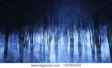 3D render of a spooky foggy forest