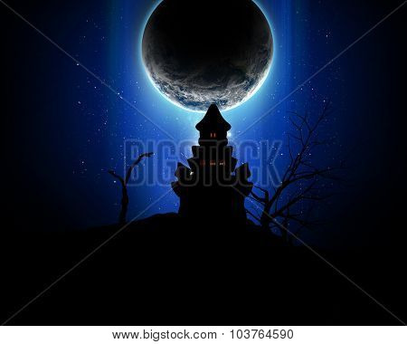 3D Halloween background with silhouette of a spooky castle against a fictional planet in the night sky