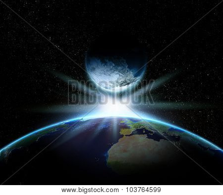 3D render of Earth and fantasy planet with a bright star - elements of this image furnished by NASA