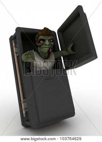 3D Render of a Cartoon Zombie Character