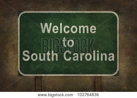 Welcome To South Carolina Roadside Sign Illustration
