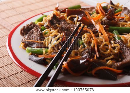 Lo Mein Chinese Noodles With Beef And Muer Close-up. Horizontal
