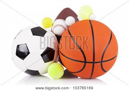 Set of sport balls isolated on white background