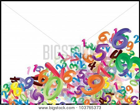 Background Of Falling Cartoon Numbers, Digits. Funny, Cheerful And Colorful Illustration For Childre